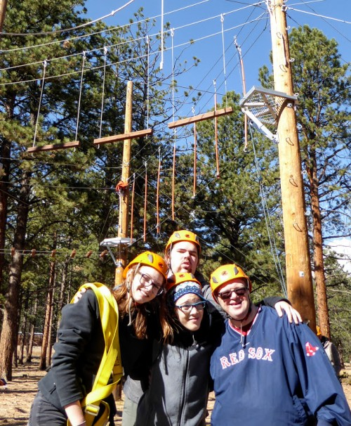Participants and staff from Rainbow Valley Resource Network enjoy the A/U Ranches ropes course during a 100 Elk program.
