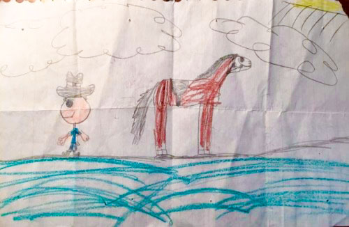 """Tiffany's son gave her this drawing 15 years after her experience at the A/U Ranches without knowing any of it, """"proving that people can truly know you without the story or any effort at all,"""" she says."""