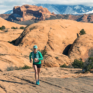 Annie in her first 50-mile ultra race in Moab, Utah