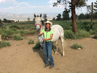 Virginia Pendleton with her horse, Mercy, at Mini Camp 2020